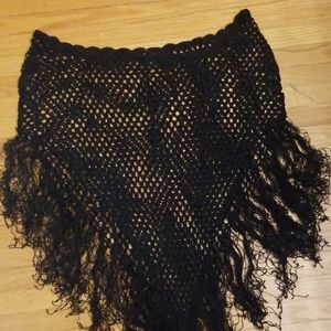 Crochet fringe shawl/skirt/poncho/cover-up